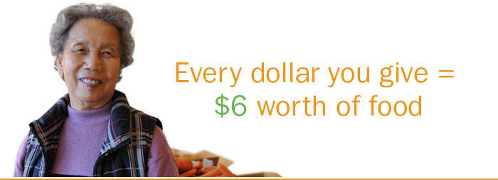 Every dollar you give equals six dollars worth of food
