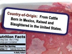 COOL label on meat package